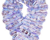 Knitted Scarf Neckwarmer with Handmade Lampwork Glass Bead Brooch