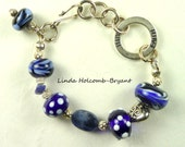 Silver Bracelet of Lampwork Glass Beads of Royal Blue and White