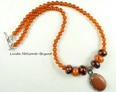 Necklace of Amber Orange and Purple
