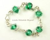 Bracelet of  Green Lampwork Beads
