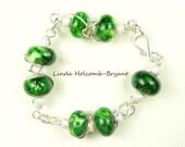 Green Aventurine Lampwork Beaded Bracelet