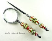 Letter Opener & Magnifying Glass with Handmade Lampwork Glass Beads of Orange Green and White