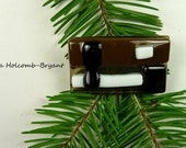 SALE Fused Glass Barrette of Brown White and Black 2 inches in width 1 1/4 inch clasp