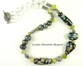 Black and Olive Lampwork Bead Necklace