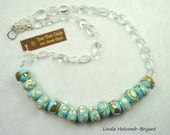 Necklace of Turquoise and Ivory Lampwork Beads