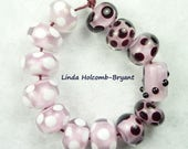 Lampwork Glass Bead Set of Mixed Pink Black and White Beads- Bakers Dozen