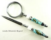 Letter Opener & Magnifying Glass with Handmade Lampwork Glass Beads of Turquoise and White