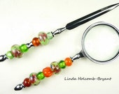 Letter Opener & Magnifying Glass with Handmade Lampwork Glass Beads