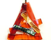 SALE Pendant of Orange and Red with Dichroic Fused Glass