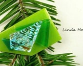 SALE Dichroic Fused Glass Barrette of Green 2 inches in width 1 inch clasp