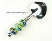 Condiment Spoon with Handmade Lampwork Glass Beads of Aqua