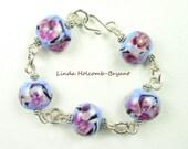 SALE Silver Bracelet of Blue & Rose Lampwork Beads
