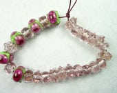 Lampwork Glass Bead Set of Mixed Multicolored Pink and Green Beads- set of 26