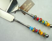 Cake Serving Set with Handmade Lampwork Mulit-colored Beads