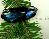SALE Dichroic Fused Glass Barrette of Dark Aqua 3 inches in width 1 1/2 inch clasp