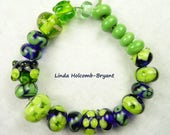 Lampwork Glass Bead Set of Mixed Multicolored Blue and Green Beads- set of 22