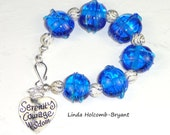 Silver Bracelet of Blue Lampwork Glass Beads and Silver Wire