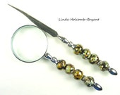 Letter Opener & Magnifying Glass with Handmade Lampwork Glass Beads of Olive Green