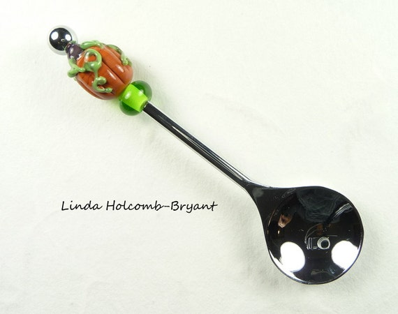 Condiment Spoon with Handmade Lampwork Glass Pumpkin Bead