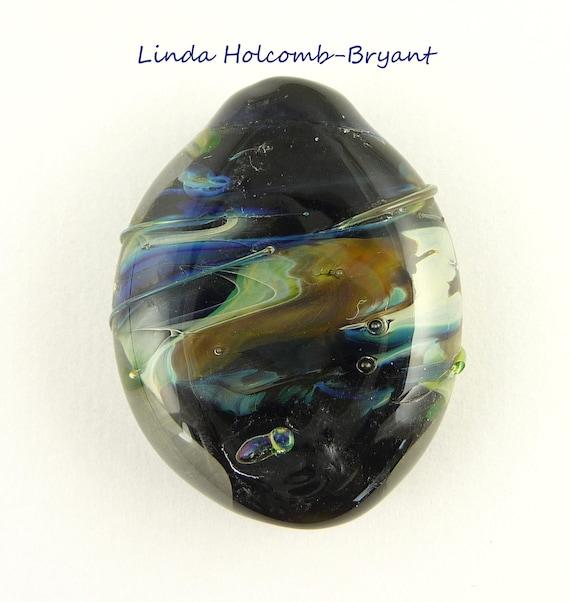 Stormy Sky Lampwork Glass Focal Bead