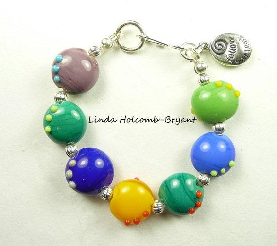 Bracelet of Lampwork Glass Beads
