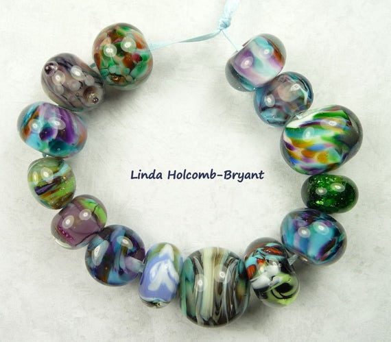 Lampwork Glass Bead Set of Mixed Multicolored Beads- set of 14