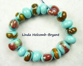 Lampwork Glass Bead Set of Mixed Turquoise and Brown Beads- set of 18