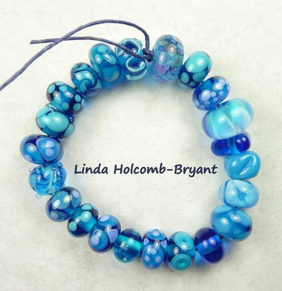 Lampwork Glass Bead Set of Mixed Blue Beads- 22