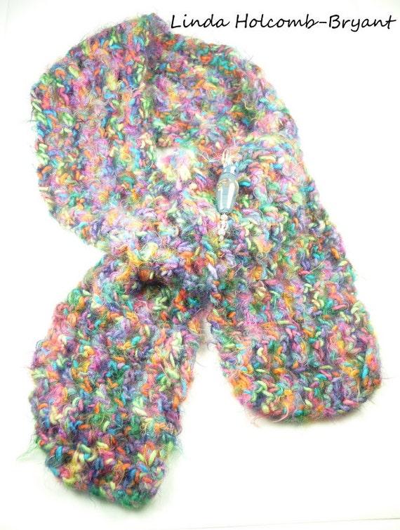 Crochet Scarf and Handmade Lampwork Glass Beaded Pin