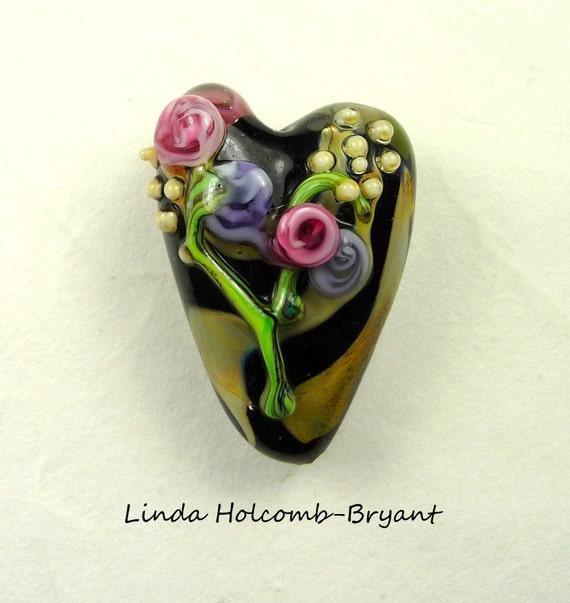 Flowers on Lampwork Glass Heart Focal Bead