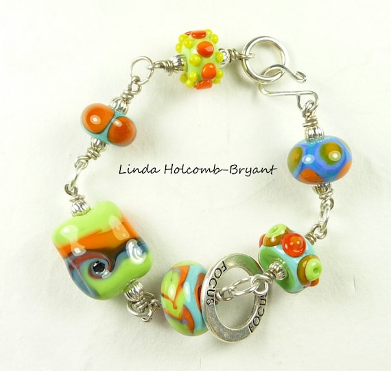 SALE Bracelet of Colorful Lampwork Beads