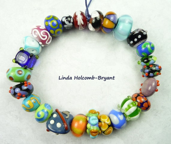 Lampwork Glass Bead Set of Mixed Multicolored- set of 25