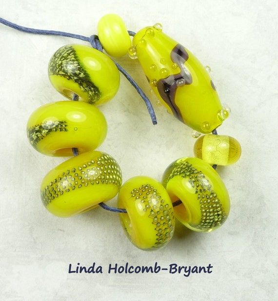 Lampwork Glass Bead Set of Mixed Yellow Beads- set of 8
