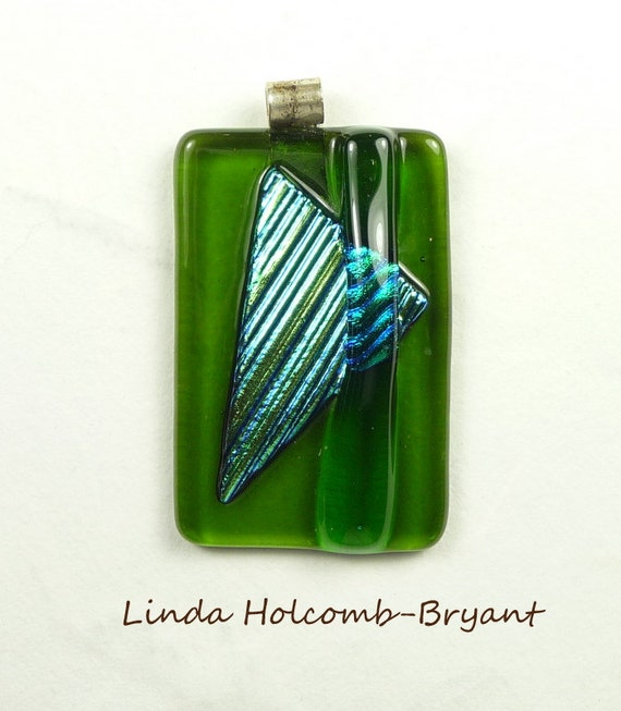 SALE Green & Turquoise Pendant With Fused Dichroic Glass