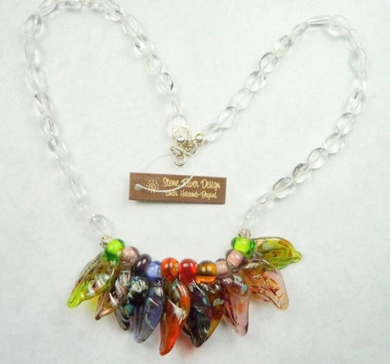 Necklace of Multi-Colored Leaf Lampwork Beads