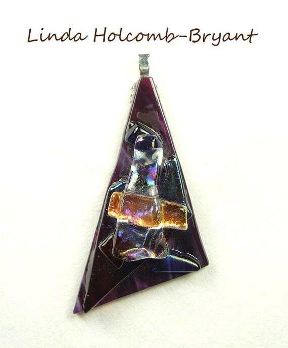 Reserved hold for Larry P only. Pendant of Dichroic Purple Fused Glass