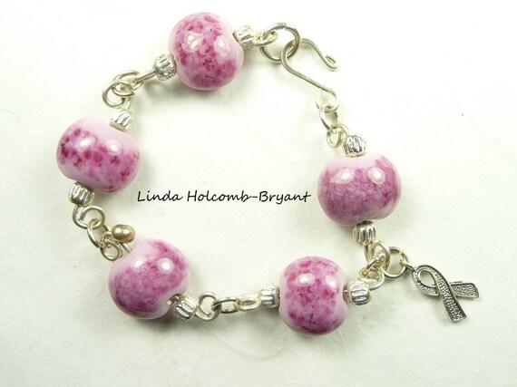 Silver Awareness Bracelet of Pink Lampwork Glass Beads