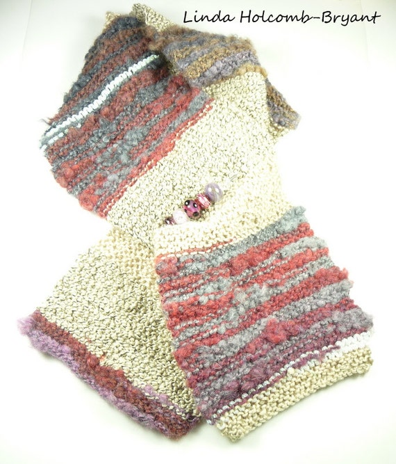 Knitted Scarf and Lampwork Purple Beaded