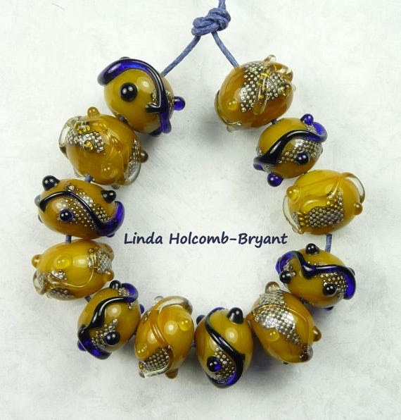 Lampwork Glass Bead Set of Mixed gold and Blue Beads- set of 12