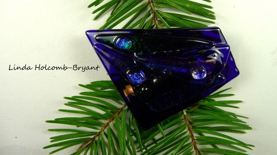 SALE Fused Glass Barrette of Dark Blue 3 inches in width 1 1/2 inch clasp