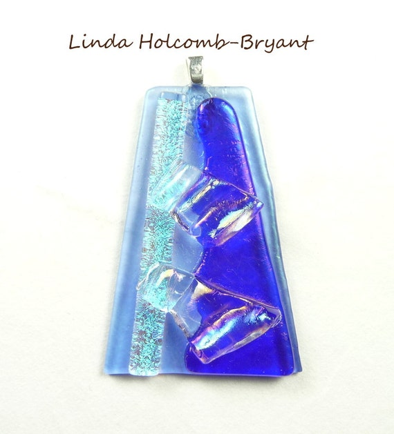 SALE Pendant of Blue & Turquoise w/ Dichroic Fused Glass