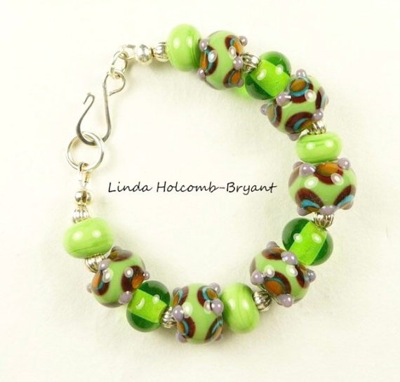 Green and Purple Lampwork Beaded Bracelet