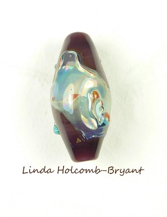 Purple Base Lampwork Glass Double Helix Focal Bead