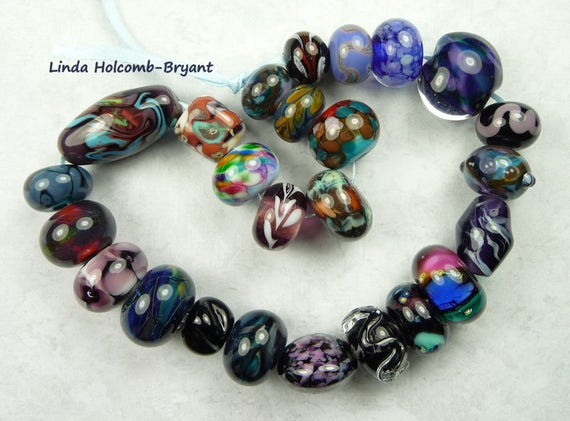 Lampwork Glass Bead Set of mixed colors- Set of 25