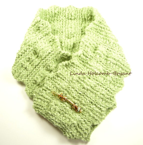 Soft Knitted Moss Green Scarf with Organic Handmade Lampwork Glass Bead Pin