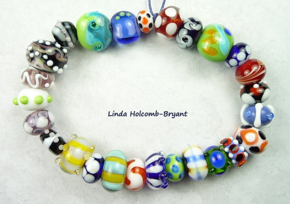 Lampwork Glass Bead Set of Mixed Multicolored- set of 26