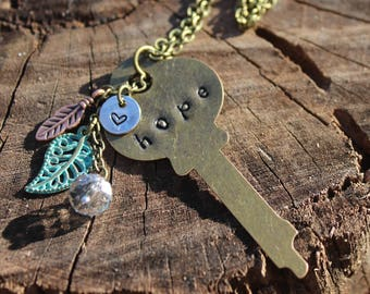 Hope Key Necklace Hand Stamped