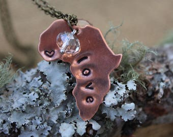 Hand Stamped Copper Africa LOVE Necklace