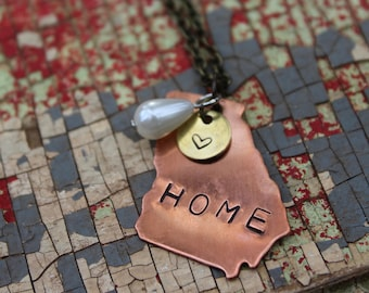 Georgia HOME Necklace Copper GA State