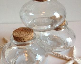 Small Glass Jar with Cork - Home Decor - Beach Wedding Favor  - Gift -  Candy Reception - Keepsake Tiny Bottle